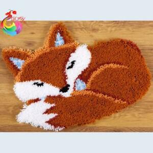 "Patchwork Latch hook DIY rug kit ""Sleeping Fox ""approx 50x35cm"