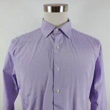 Thomas Stone Mens Polyester Blend LS Button Down Purple Striped Shirt L 16-16.5