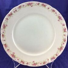 "Mercer Pottery Company 9.5"" Plate Dish Semi-vitreous Off White Pink Flowers"