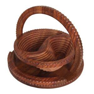 Foldable design Handicrafts Candy Fruit basket walnut wood From Pakistan #071