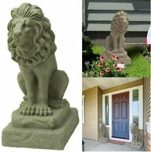 HomeZone/® Large Stone Effect Resin Sitting Lion Animal Garden Ornaments Hand Crafted Sculptures Lawn Statues Antique Decor Wildlife Sculptures