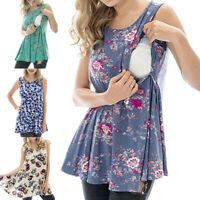 Women Pregnant Vest Tank Floral Nusring Maternity Sleeveless Tops T Shirt Blouse