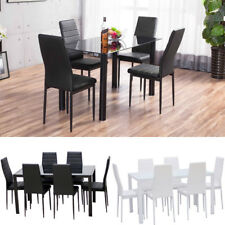 Anti-aging 4/6 Seater Glass Dining Table And Kitchen Chair PU Leather Diner Seat