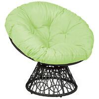 Rattan Papasan Chair Ergonomic Chair 360-degree Swivel Soft Cushion Garden Green