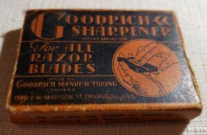 1930'S Goodrich Razor Blade Safety Razor Blade Honing Stone W/Original Box
