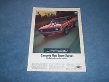 "1969 Chevy Camaro SS350 Vintage Ad ""Camaro's New Super Scoop"" Cowl Induction"