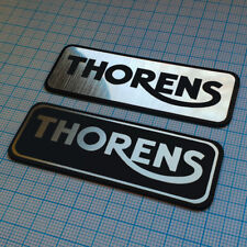 2 x THORENS - Aluminum Metallic Logo Sticker - 2.75 inch / 1 inch - 70mm / 25mm