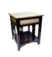 Wood Drawer Coffee Table Stool Unique  Brass Polished Home Indian Art