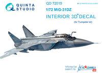 Quinta QD72015 1/72 MiG-31DZ 3D-Printed & coloured interior (for Trumpeter kit)