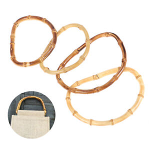 Vintage Bamboo Bag Wooden Handles Replacement Diy Accessories For Women Handb FH