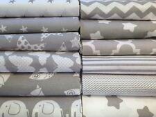Grey and White 100% Cotton Fabric - Chevron, Stars, Striped, Quatrefoil