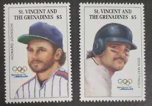 St. Vincent 1992 - SC# 1731-2 Johnson & Don Mattingly, Baseball - Set of 2 - MNH