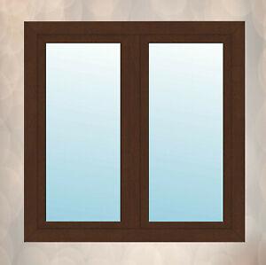 Fenster mit Stulp Nussbaum außen, innen weiß 2 flügeliges Kunststofffenster