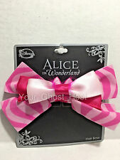 Hair Bow Clip Cheshire Cat Pink Alice in Wonderland Feathers Ears Disney New