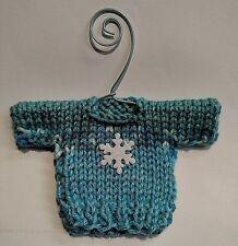 Aqua and  Snowflake  Mini   Christmas Sweater  Ornament