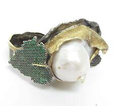 925 Silver & 18K Gold - Vintage Antique Pearl & Emerald Large Ring 32g - Sz 8.5