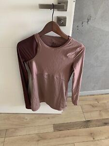 Nike Laufshirt, S, Damen, rosa-weinrot glänzend