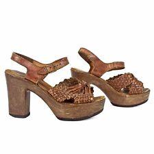 Rare Vintage 1970s Hippie Huarache Style Leather Wood Platform Sandals Shoes