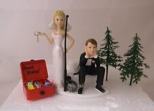 Wedding Reception Party Ball Chain  Fishing Fisherman Tackle Box Cake Topper