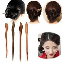 Traditional Carved Ebony Wooden Hair Pin Stick Original Retro Women Lady OZ