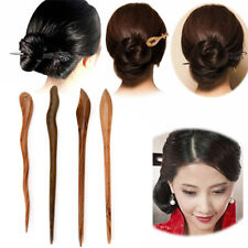 Traditional Carved Ebony Wooden Hair Pin Stick Original Retro Women Lady Sexy E&