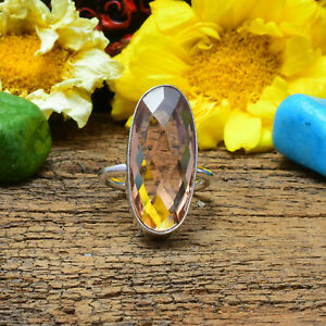 Pleasing Morganite Gemstone 925 Sterling Silver Handmade Ring All Size