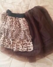 Girls Special Occasion Skirts Brown Tutu Leopard print set of 2 Size 10-14
