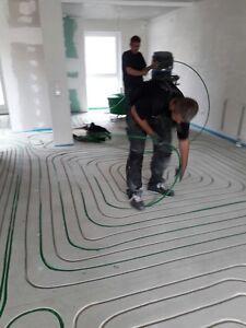 100qm Fußbodenheizung Fräsen Estrich nachträglich durch Fachbetrieb Montage