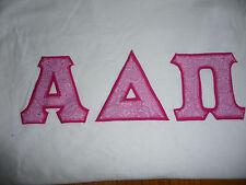 Alpha Delta Pi White Tee T-Shirt Medium Sewn Letters Pink Paisley New