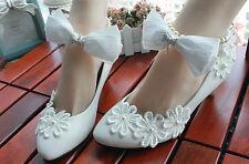 Decolté decolte scarpe donna ballerina bianco pizzo sposa 3.5, 4.5 8.5 cm 8532
