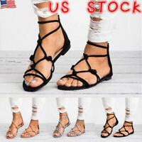 US WOMENS LADIES ANKLE STRAP PEEP TOE FLAT SANDALS COMFY SUMMER SHOES SIZE 6-10