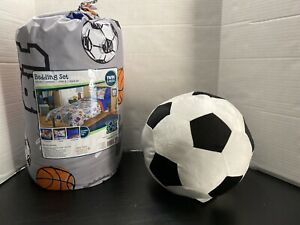 Sport Bed In Bag Twin 5 Piece Set Plus Soccer Ball Plush Pillow