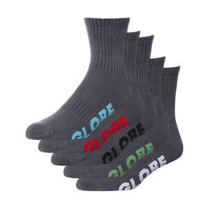 Globe Socks 5 Pack Stealth Crew Grey Size 2-8 Skateboard Sox