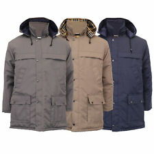 Mens Padded Jacket Gillicci Trench Coat Hoodie STANLEY Check Lined Casual Winter