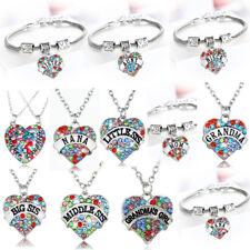 Love Heart Necklace Pendant Colorful Family Best Friends Gift Women Men Bracelet