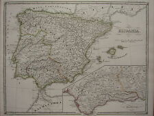 1850 SPRUNER ANTIQUE HISTORICAL MAP SPAIN BAETICA BALEARIC ISLES ROMAN PROVINCES