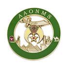 Shriner AAONMS Round Masonic Auto Emblem - [Green & Gold][3'' Diameter]