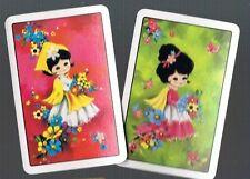 Playing Swap Cards   2 X MINT 1970'S CUTE LITTLE FLOWER GIRLS NOT B/BACKS  W120