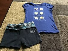 Girls justice Cat emoji short sleeve tee yoga shorts outfit size 7(Guc)