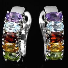 Sterling Silver 925 Rainbow Colour Genuine Natural Gemstone Hoop Style Earrings