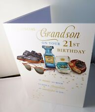 Grandson 21st Birthday Card Shoes/Sunglasses /Watch etc Gold Foil Quiney DS536
