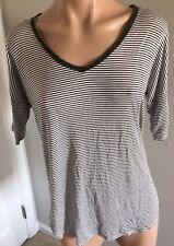 H.I.P. Black And White Striped T Tee Shirt V Neck Women's Medium