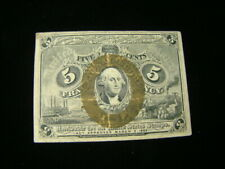 1863 5 Cents Fractional Currency Second Issue Fr#1233 Fine Nice!