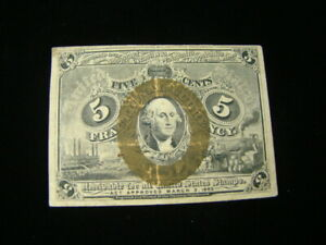 1863 5 Cents Fractional Currency Second Issue FR#1233 Fine Nice!!