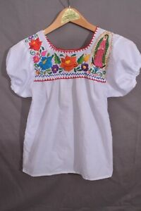 Girls Handmade White Mexican Puebla Blouse Embroidered Flowers & Virgin Mary