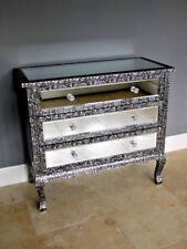 SILVER CHIC FRENCH METAL FURNITURE EMBOSSED MIRRORED 3 DRAW CHEST OF DRAWS 3250