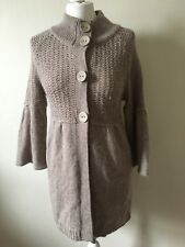 Kaliko Long Cardigan Biscuit Size 10 Silk Angora Blend Soft Comfy Cosy