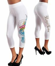 I59 -M/Medium- White,Cotton,Tattoo,Rhinestones,Capri Leggings