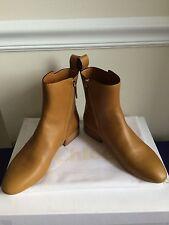 NIB $850 Chloé Pull Tab Ankle Boots Mustard Size 7.5