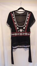 Pure silk Principles top in black beads and braid size 14